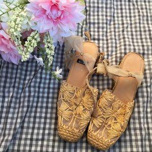 Stuart Weizman Strappy Mesh Embroidered Sandals.